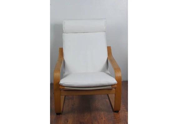 Housse De Glissement Pour La Chaise Ikea Poang En Tissu Simili Cuir Blanc