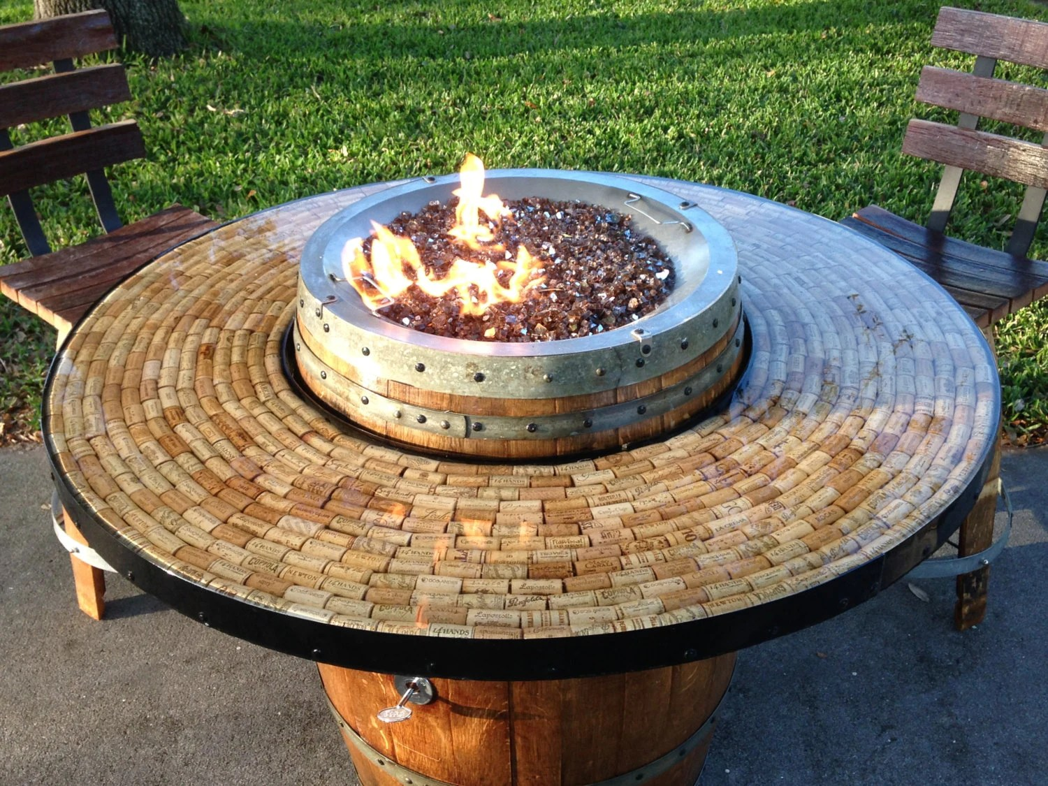wine barrel gas fire pit and patio table etsy