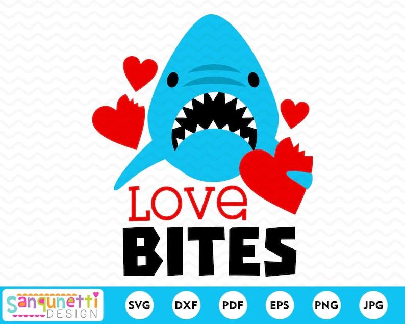 Download Love Bites Valentine SVG Shark cutting file for boys | Etsy