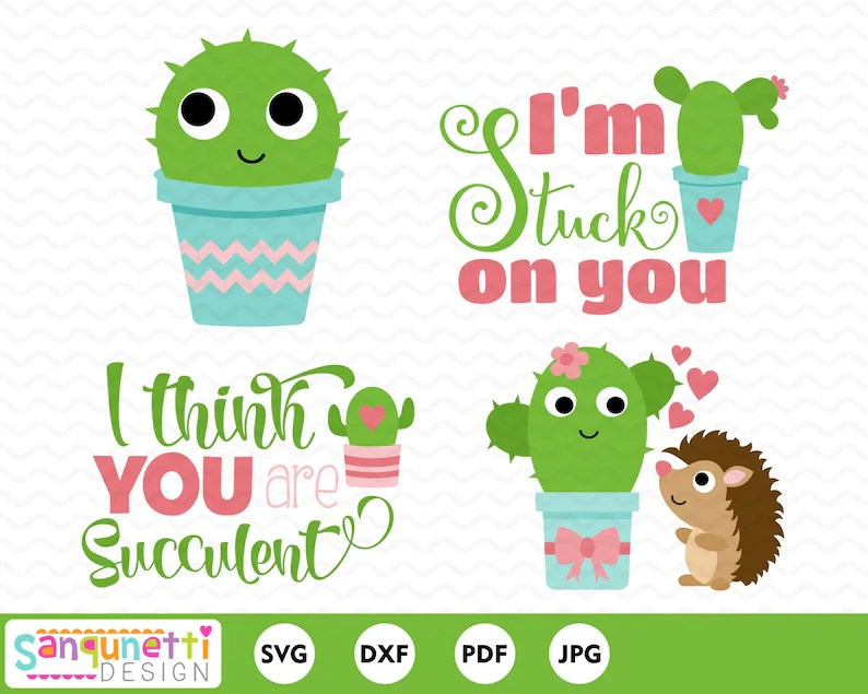 Download Cactus valentine svg succulent cut file for silhouette or ...