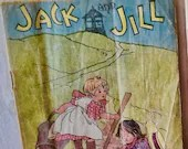 Rare Jack and Jill Linen Children's book, McLoughlin Bros, chromolithographs, victorian era, alphabet/Vintage Children's Book