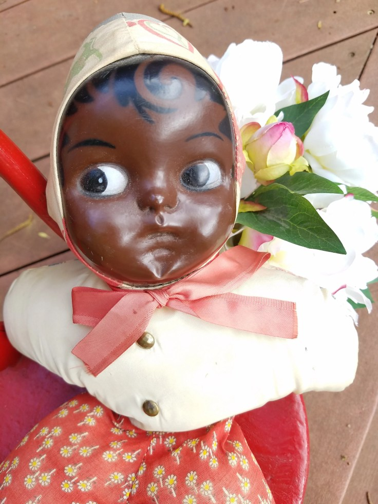 Antique African American Black Folk Art Doll / Hand Painted / Hand Made
