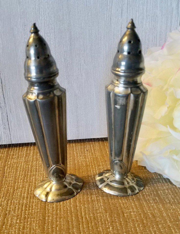 Vintage 1920's Art Deco Salt and Pepper Shakers/ Silver plated Antique