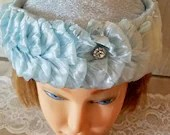 1950s 1960s Vintage Pill Box Blue Hat with Layers and Rhinestone /Ladies/ Cottage Wedding