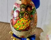 Vintage Russian Hand Painted Folk Art Collectible Wooden Egg/ Christmas Family On Sleigh Ride In Snow/Signed By Artist /Tole Painting