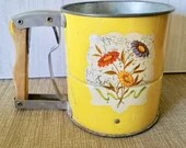 Vintage Yellow Metal ANDROCK HAND - I -SIFT Red Flowered Sifter Old Yellow Metal Sifter