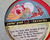 TWO Rare 1950's Peter Pan Records Red Christmas Records/Rudolph The Red Nose Reindeer/ 10 inch/ Vintage Christmas Music/ Christmas Classic