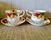 Set of Two Vintage Royal Albert Old Country Roses Pattern Teacup & Sauce Red and Yellow Roses