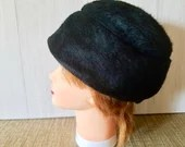 Vintage Black Fur Hat Woman's /Made in the United Kingdom  FREE SHIPPING
