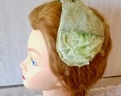 1950s 1960s Vintage Hat With Veil/ Ladies/ Green with Bow