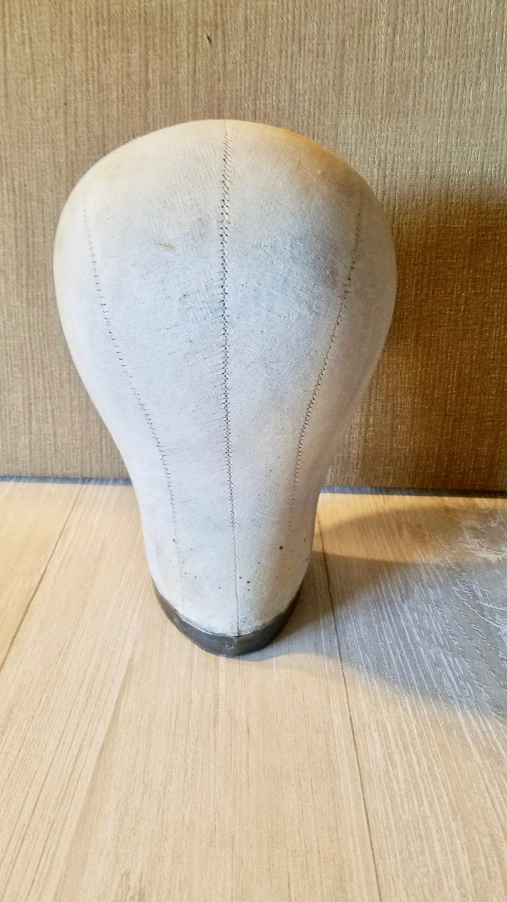 Vintage Canvas Millinery Mannequin Head Form with Metal Bottom/ Mannequin Head