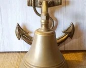VINTAGE Brass Patio Garden Bell Dinner Bell With Brass Nautical Anchor an Rope