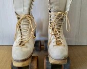 Vintage 1960's Roller Skates, Size 6, Model # 200, Betty Lytle, Styled By HYDE, White Leather, Well Worn, Cleveland Skate Corporation