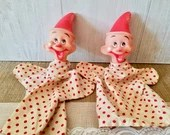 Two Clown Puppets / Hand Puppet with Red polka Dots , doll puppet, puppet, doll on hand, puppet theater, Vintage rubber doll, rubber doll