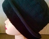 Vintage Black Melbourne Fur Trim Adjustable Hat/ Wide Brim / Warm Winter Hat