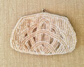 Vintage Beaded Golden and Cream Purse / 1960's clutch