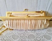 FRANCHI Beige Satin Pleated Gold Evening HANDBAG / Champagne color