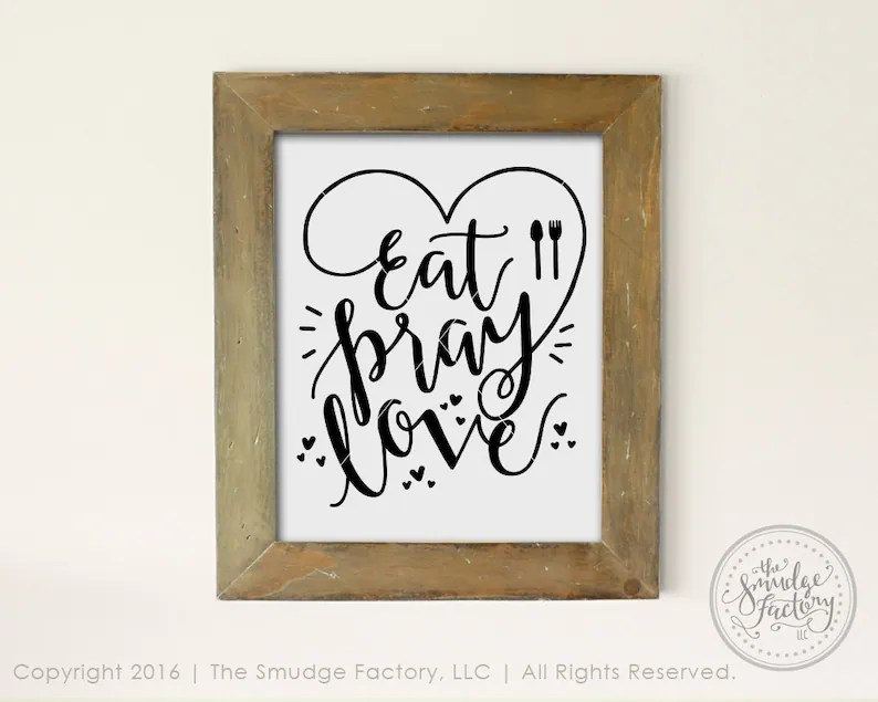 Download Eat Pray Love SVG Cut File Hand Lettered Drawing ...