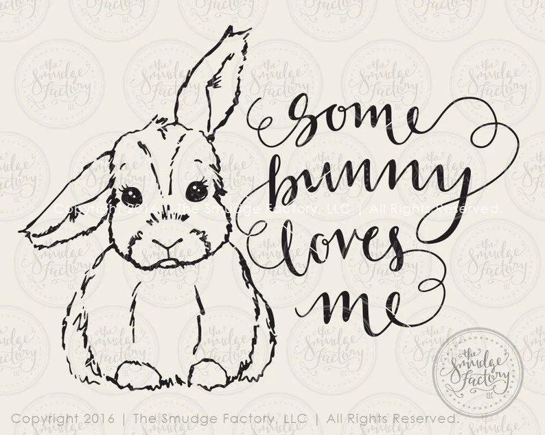 Download Bunny SVG Cut File Some Bunny Loves You Hand Lettered   Etsy