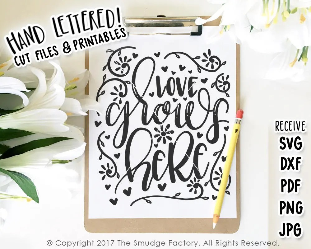 Download Love SVG Cut File Love Grows Here SVG Spring Cut File | Etsy