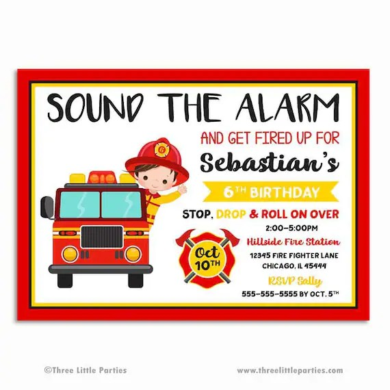 Find the best fire fighter party supplies and decorations for your kids fireman birthday party make sure to get all of your volunteer firefighters to the party by purchasing some party invitations featuring a fire hydrant and dalmatian print. Firefighter Invitation Fire Truck Birthday Invitation Etsy