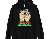 Happy Holiblaze Funny Christmas Joint Rolling Marijuanna Unisex Hoodie