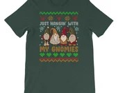 Just Hangin With My Gnomies Cute Gnome Lover Christmas T-shirt