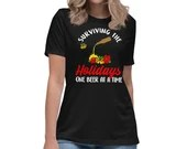 Surviving The Holidays One Beer At A time Funny Christmas Women's Relaxed T-Shirt