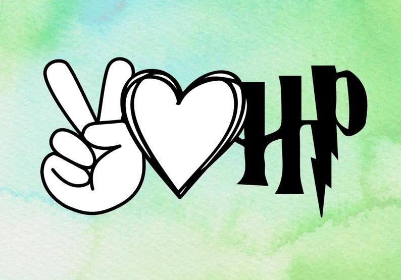 Download Peace love Harry Potter digital download svg png jpeg | Etsy