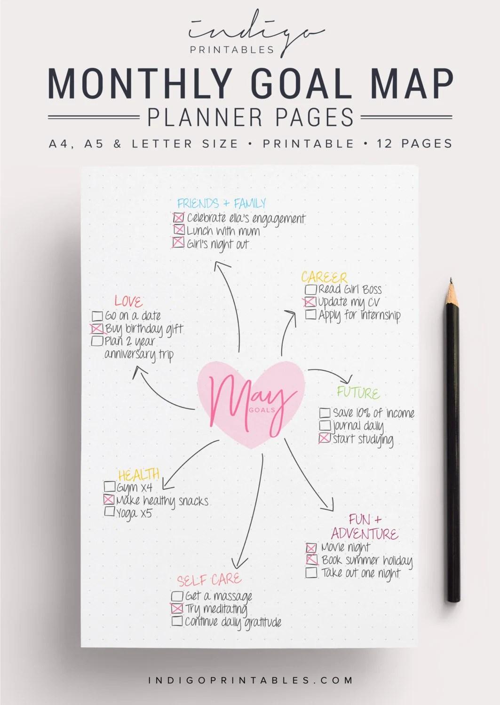 Monthly Goal Planner Goal Planner Goal Tracker Printable