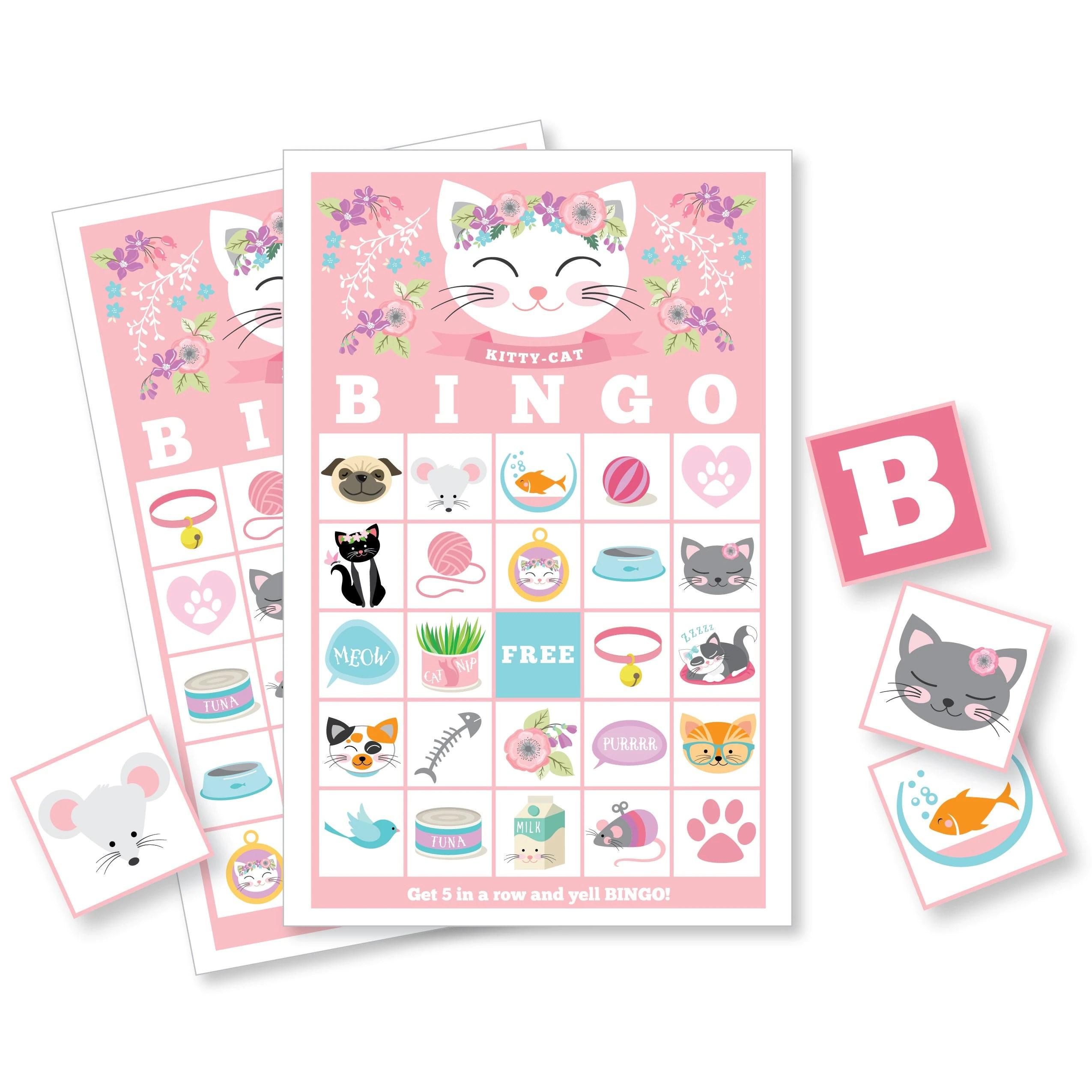 Cat Bingo Game Cat Party Game Girl S Printable Bingo