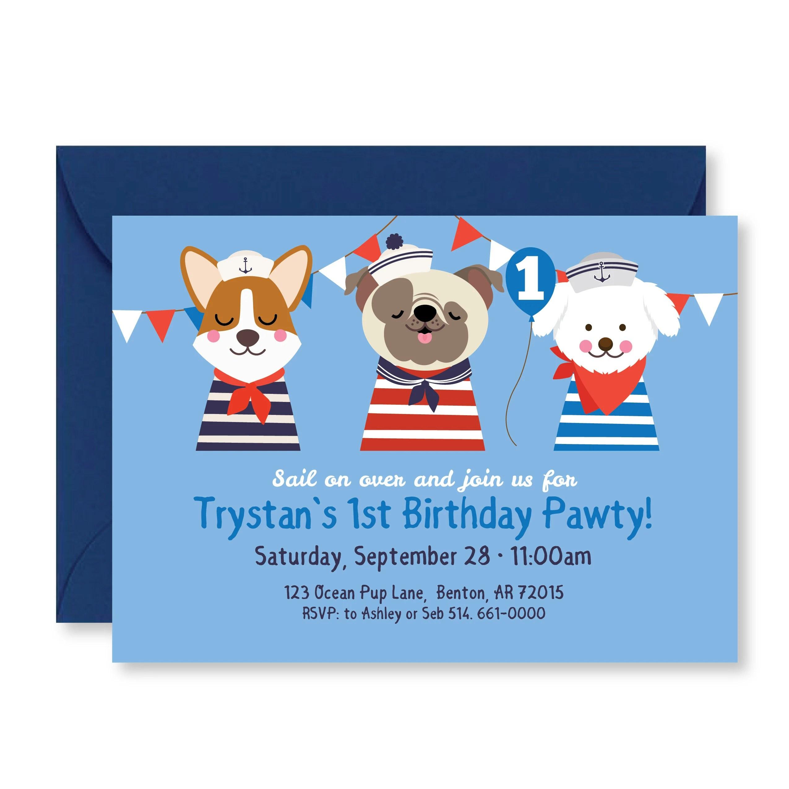 sailor dog birthday party invitation