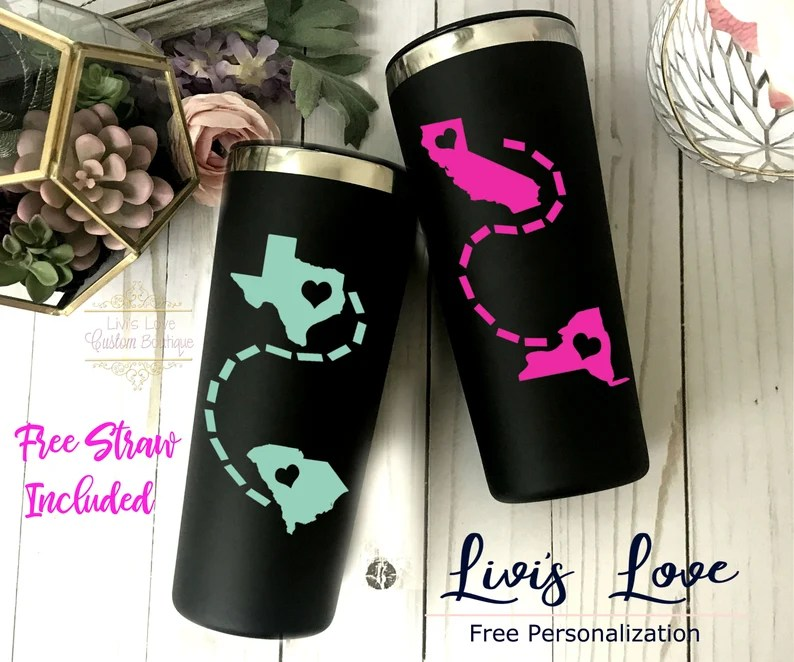 Long Distance Relationship Personalized tumbler Travel To-Go image 0
