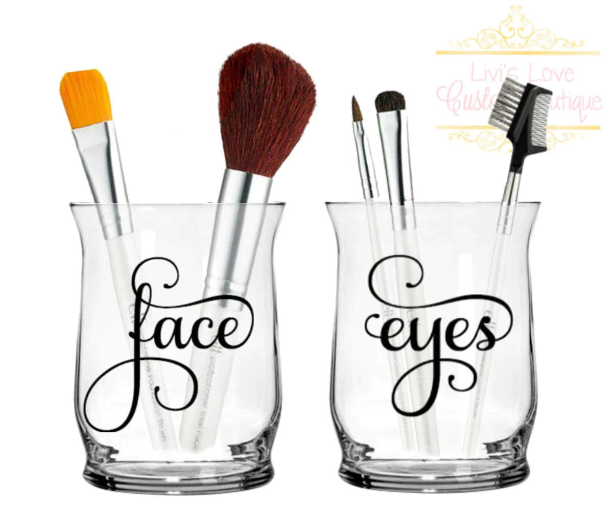 Makeup brush holders Face Eyes Personalized Make up Brush ... on Decorative Sconces Don't Need Electric Toothbrush id=48431