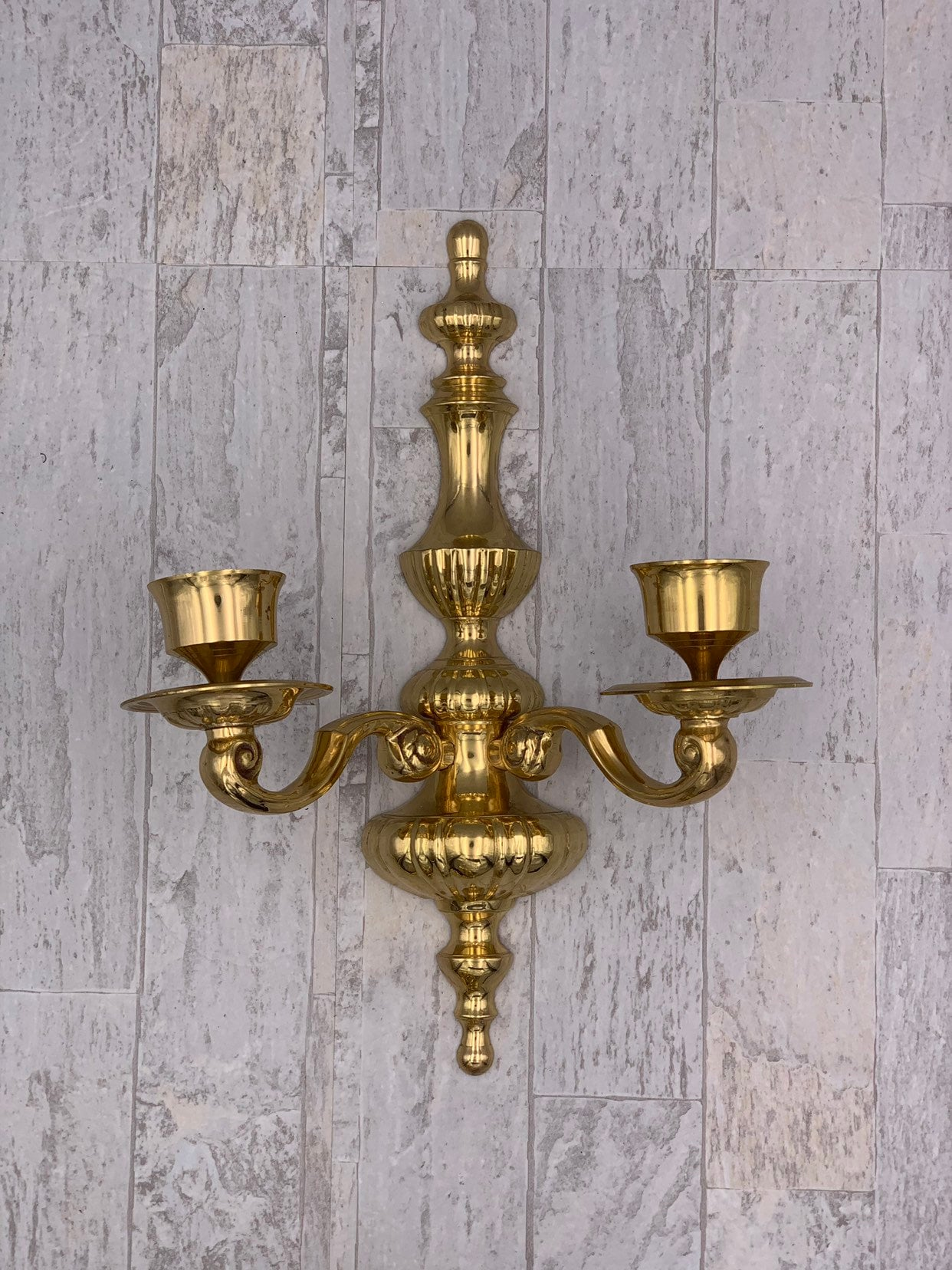 Vintage Brass Wall Sconces, Pair of Double wall candle ... on Large Wall Sconces Candle Holders Decorative id=19268