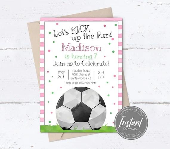 girls soccer birthday invitation