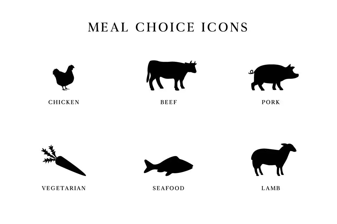Wedding Meal Choice Meal Choice Icons Beef Chicken Pork
