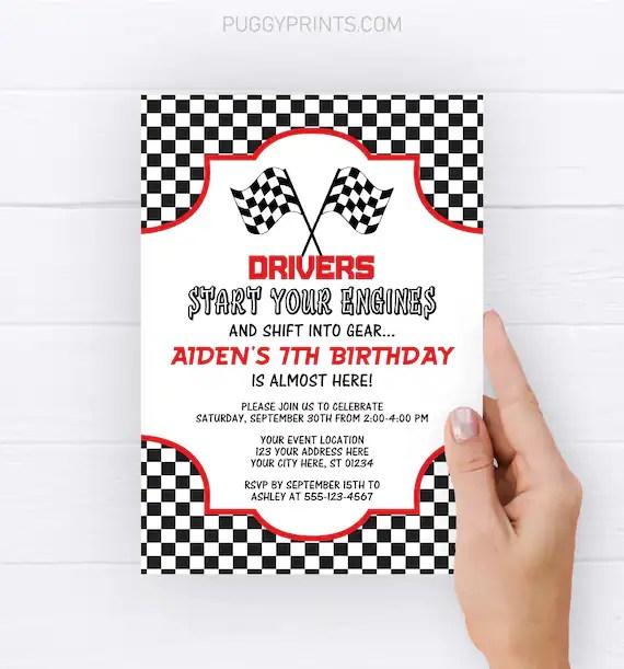 racing birthday invitation editable