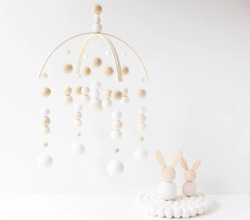 Cream and White Baby Mobile  Gender Neutral Baby Mobile  image 0