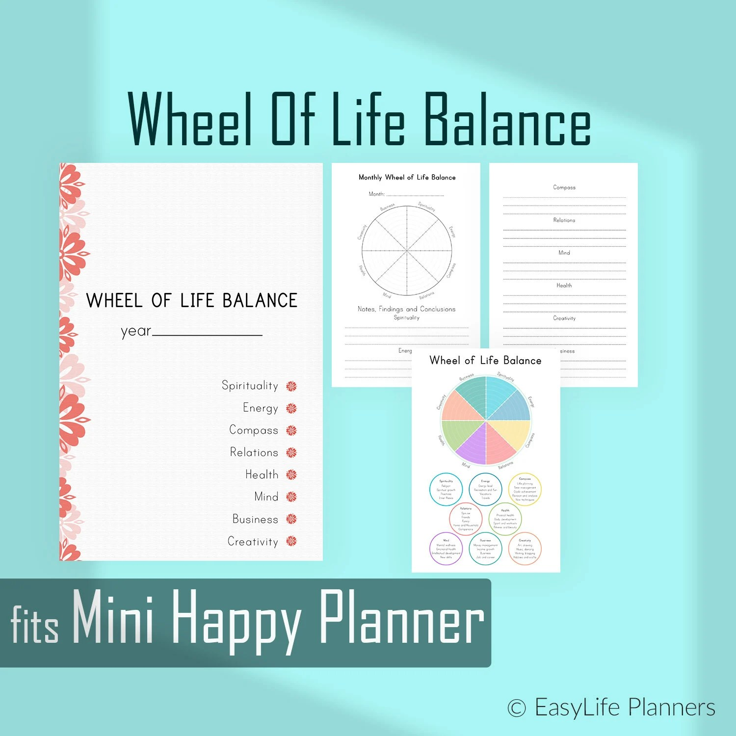 Wheel Of Life Made To Fit Mini Happy Planner Inserts
