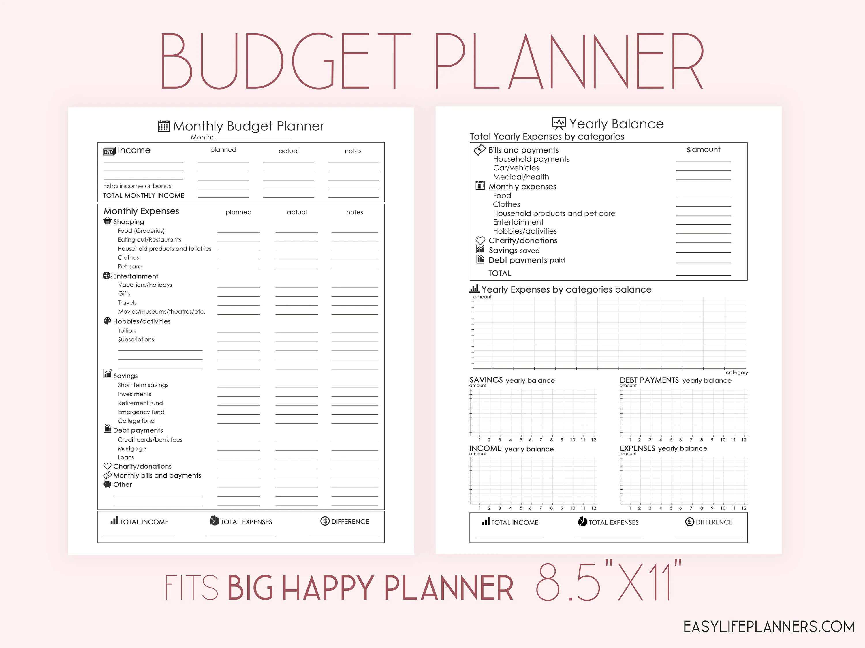 Monthly Budget Planner Printable Financial Planner Insert