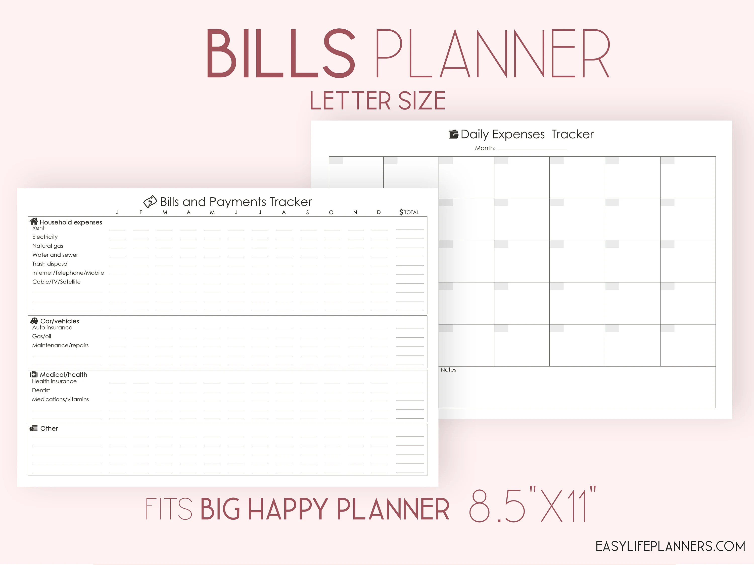 Bills Tracker Expenses Printable Black And White A4