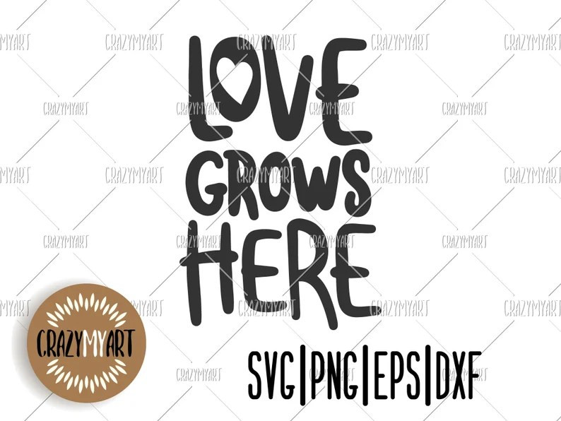 Download Love grows here svg Family quote svg Handdrawn quote | Etsy