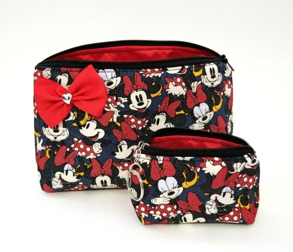 Minnie mouse cosmetic makeup bag coin purse set. Bow ...