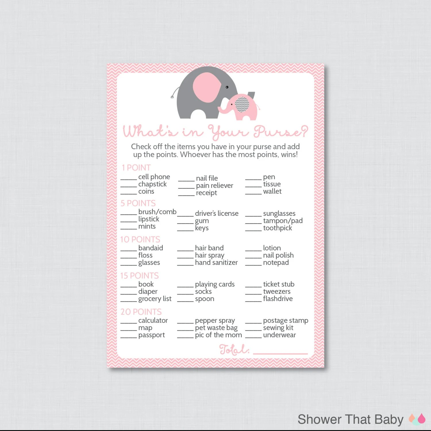 Elephant Baby Shower What S In Your Purse Game Printable