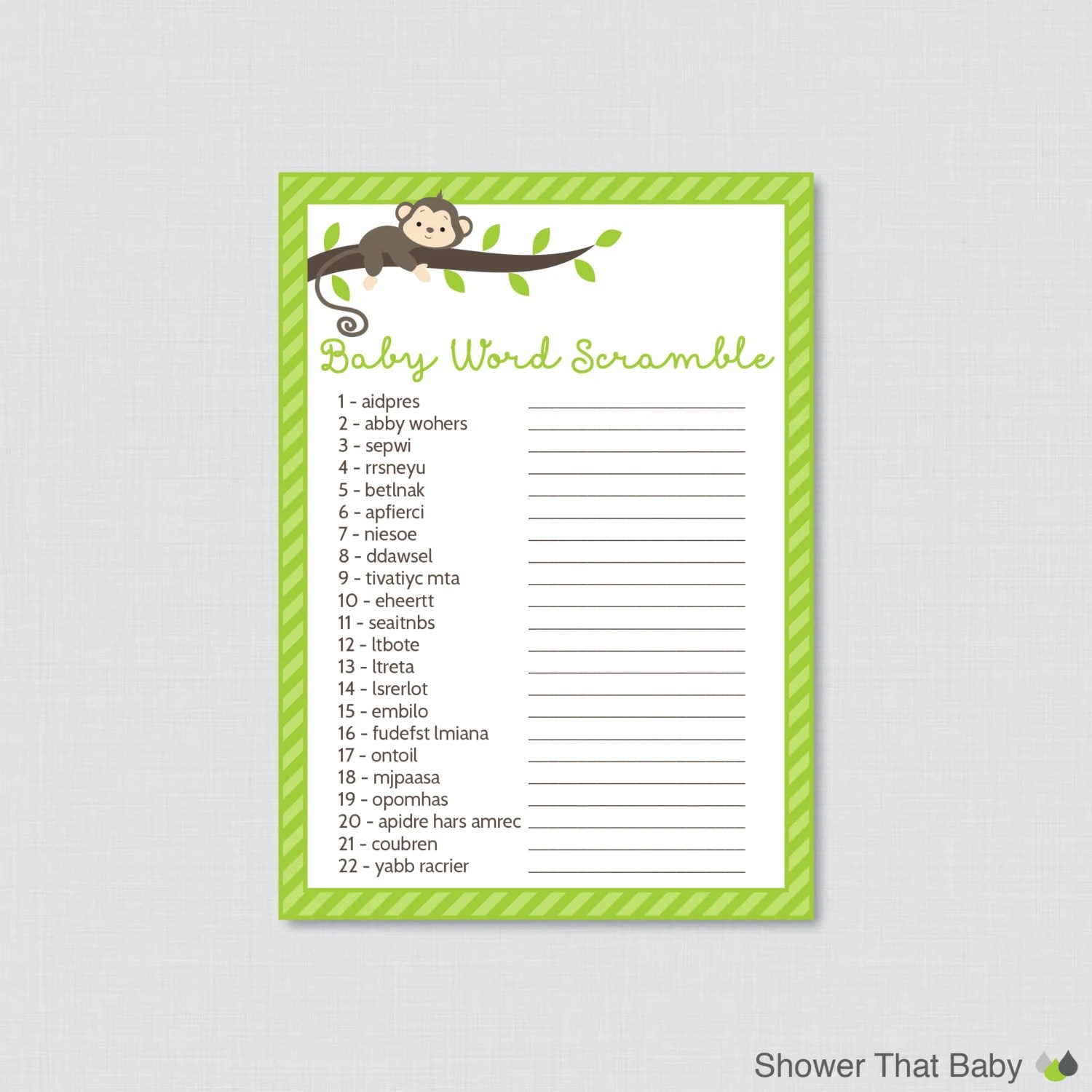 Monkey Baby Shower Word Scramble Game Printable Instant