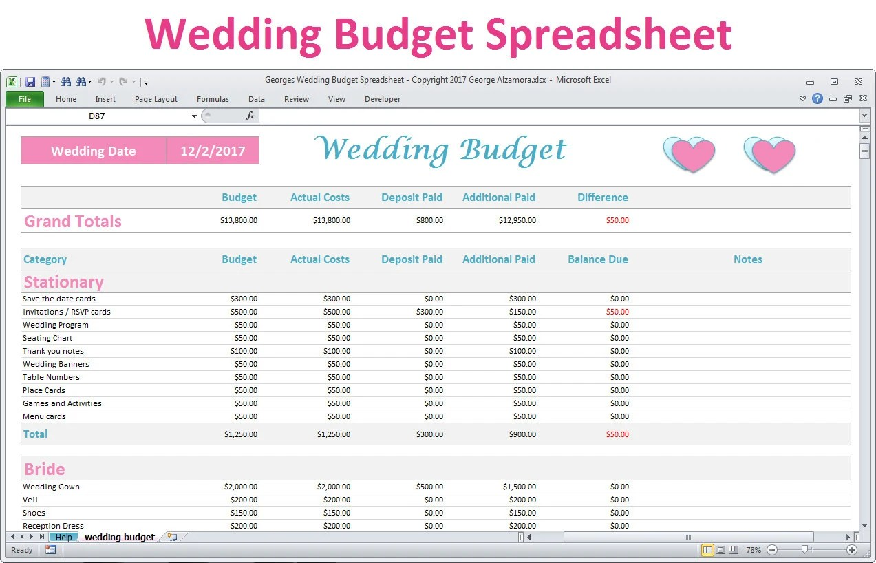 Wedding Budget Spreadsheet Planner Excel Wedding Budget