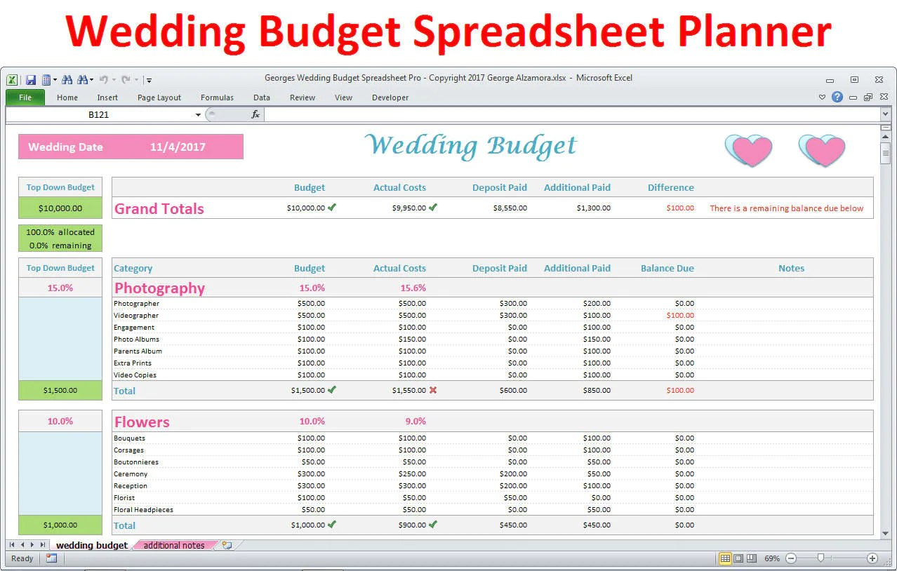 Wedding Planner Budget Template Excel Spreadsheet Wedding