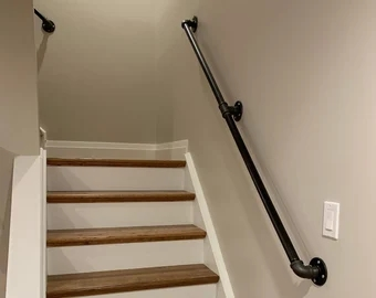Pipe Handrail Etsy   Iron Pipe Stair Railing   90 Degree Stair   Simple Pipe   Box Pipe   Reclaimed Wood Stair   Thin Metal