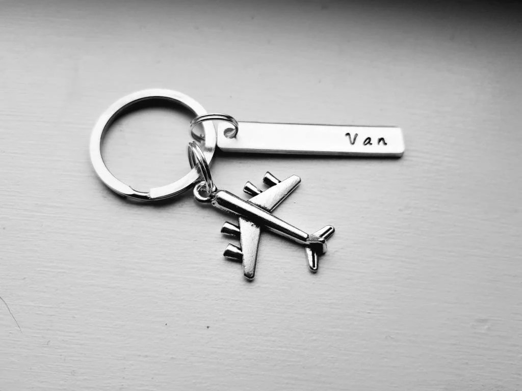 Airplane Hand Stamped Keychain With Name and Airplane Charm  image 1